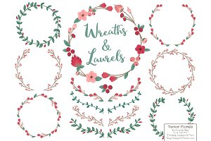 Rose Garden Vector Flower Wreaths