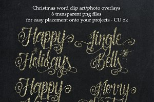 Silver Christmas overlays, clipart