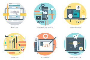 Web development and design icon set