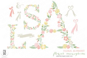 Flower monogram, floral type A S L