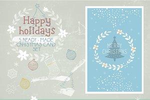 5 Vector Christmas Card Set