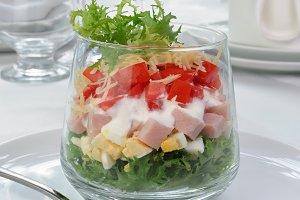 Multi-layer salad in a glass