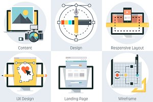 Web Development theme, flat style, c