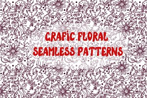 Graphic floral seamless patterns set