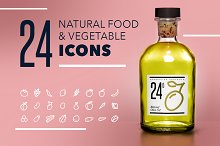 24 Natural Food Icons Pack