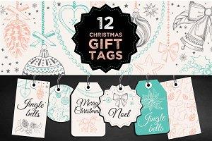 12 Christmas gift tags