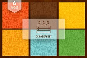 Oktoberfest Line Seamless Patterns