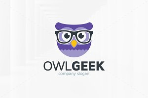 Owl Geek Logo Template