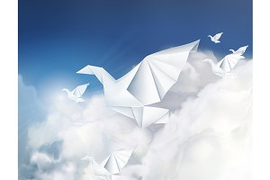 Paper origami doves