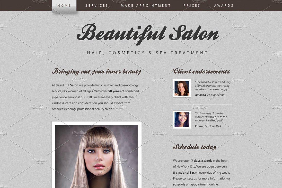 Beautiful Salon Website Template ~ Website Templates ~ Creative Market