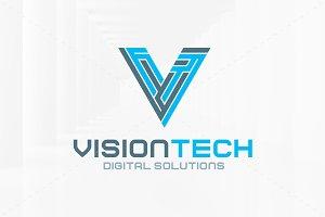 Vision Tech - Letter V Logo