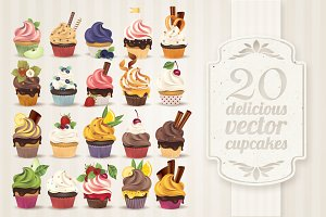 Vector cupcake collection