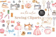 Sewing Cliparts Watercolor
