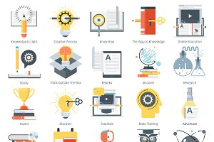 Education theme icon set