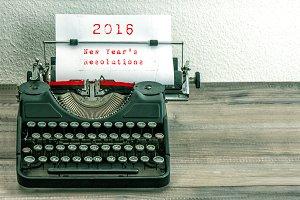 Antique Typewriter. New Year 2016