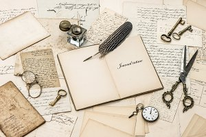 Open diary and old letters