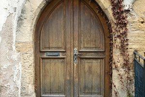 Old wooden door from medieval era