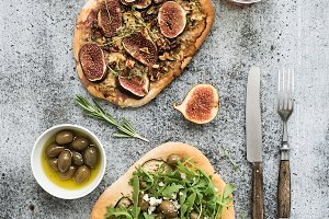 Rustic homemade pizzas