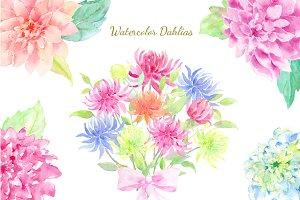 Watercolor Clipart Dahlia