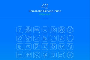 THIN Line/Fill Social Media Icons