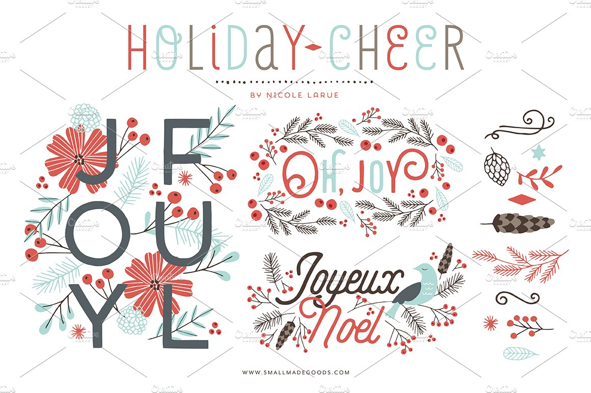 Holiday Cheer Clipart Illustrations Creative Market