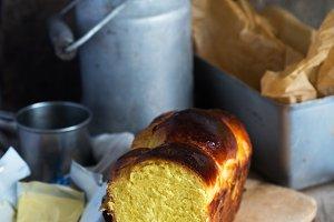 Brioche bread with butter