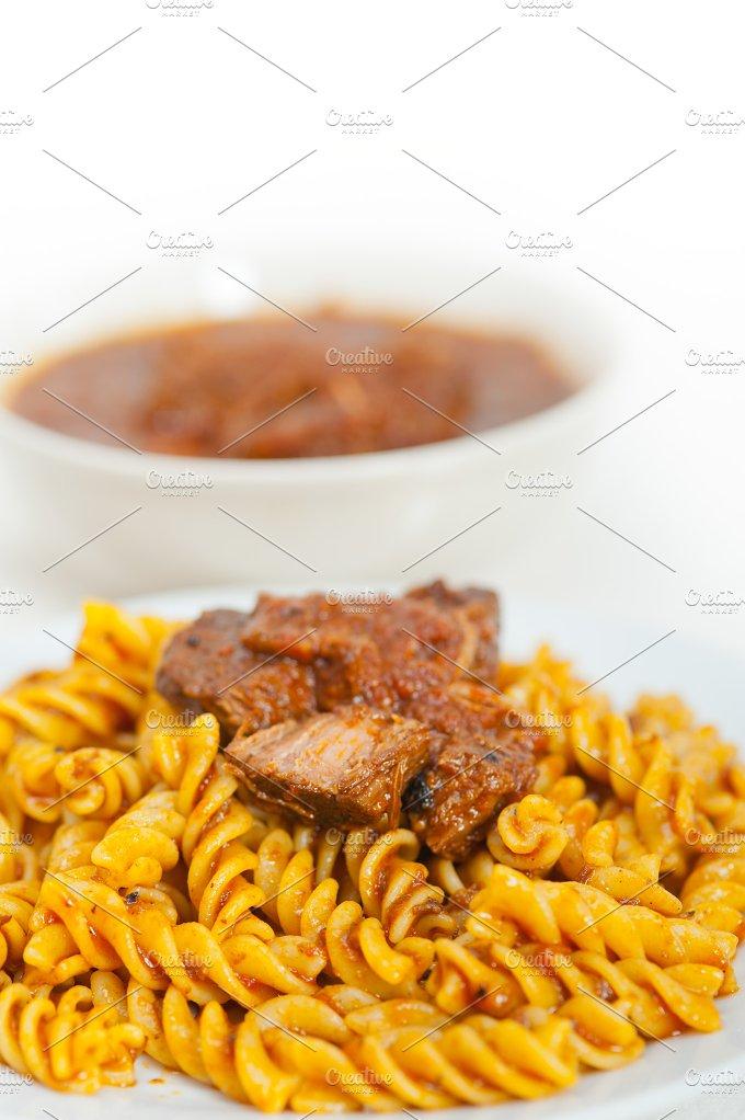 fusilli pasta with Neapolitan style ragu sauce 002.jpg - Food & Drink