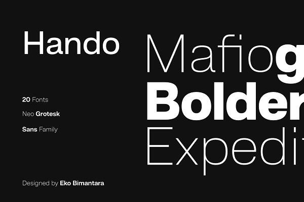 Hando; 20 Fonts of Sans Serif