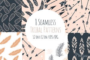 8 Seamless Tribal Patterns
