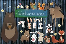 Set with cartoon animals