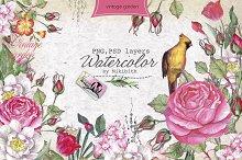 """Watercolor PSD """"Vintage Garden"""""""