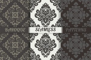 Damask seamless patterns set