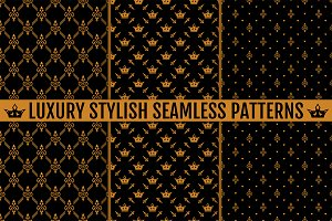 Luxury stylish seamless patterns set