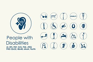 20 people with disabilities icons