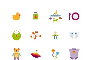 Cute color baby icons