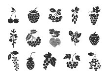 Berries silhouettes icons