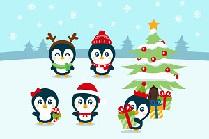 Christmas Penguin Digital Clipart