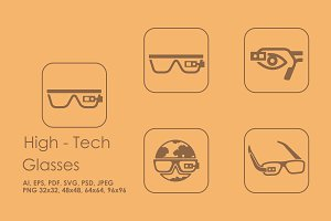 4 high-tech glasses icons