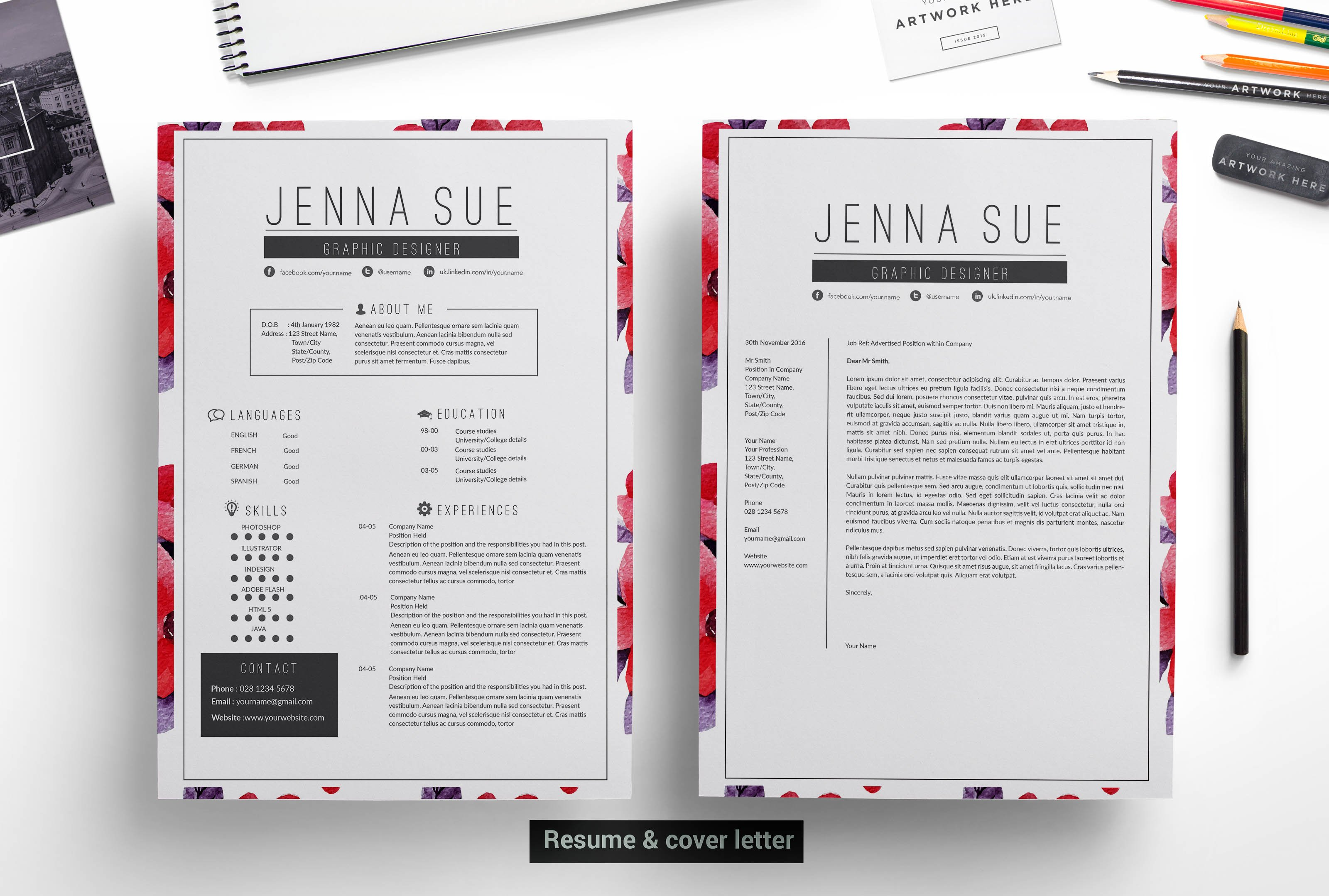Modern resume template resume templates creative market pronofoot35fo Choice Image