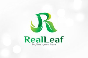 Real Leaf - Letter R Logo Template