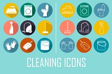Collection of vector cleaning icons