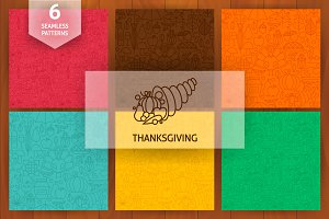 Thanksgiving Line Seamless Patterns