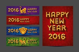 New year 2016 cards. Monkey symbol