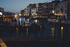 Docks in Venice before dawn
