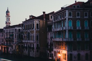Buildings in Venice before dawn