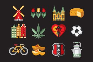 Netherlands icon set in flat style