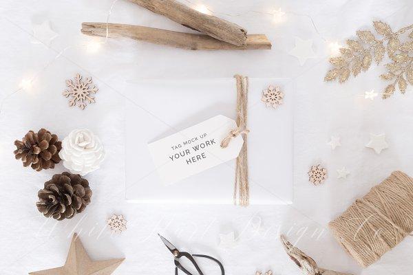 Gold Christmas gift tag mock up