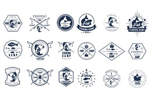 Fishing emblems, labels