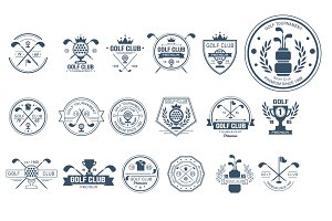 Golf labels, badges and emblems