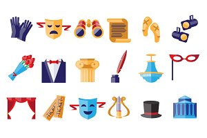 Theater flat icons